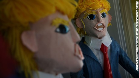 SAN FRANCISCO, CA - AUGUST 28:  Donald Trump pinatas are displayed in the window at Pinata Art on August 28, 2015 in San Francisco, California. Donald Trump pinatas are selling out at stores in San Francisco's Mission District where many Latinos live.  (Photo by Justin Sullivan/Getty Images)
