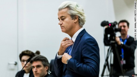 "Dutch member of Parliament Geert Wilders (C), of the far-right Freedom Party (PVV), speaks in the courthouse of Schiphol, the Netherlands, on November 23, 2016, during the last day of his hate speech trial. Wilders remained unapologetic as his hate speech trial drew to a close on November 23, saying ""millions of Dutch citizens will be convicted with me"" if he is found guilty. The firebrand far-right politician faces charges of insulting a racial group and inciting racial hatred after comments he made about Moroccans living in the Netherlands. / AFP / ANP / Remko de Waal / Netherlands OUT        (Photo credit should read REMKO DE WAAL/AFP/Getty Images)"