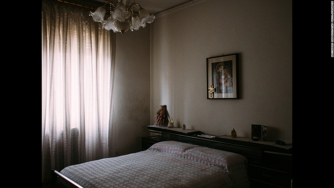 Maria's bedroom. Now in her 80s, she became a widow more than 50 years ago. Rampazzo's curiosity was piqued after he read there was no law for people who weren't able to take care of themselves when their families were no longer able to do so.