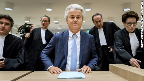 Geert Wilders (C) of the Party for Freedom (PVV) sits upon arrival at the court of Schiphol, the Netherlands, on November 23, 2016 on the last day of his trial.   Wilders, 53, is facing charges of insulting a racial group and inciting racial hatred after statements he made about Moroccans living in the Netherlands. / AFP / ANP / Remko de Waal / Netherlands OUT        (Photo credit should read REMKO DE WAAL/AFP/Getty Images)