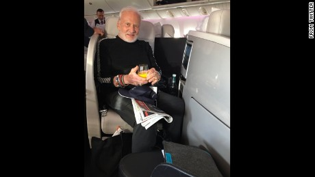 Buzz Aldrin on his flight home after being released from the hospital.