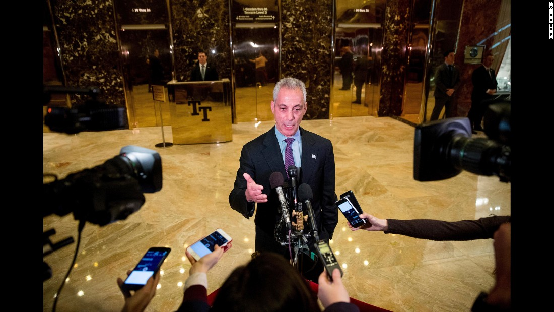 "Chicago Mayor Rahm Emanuel speaks with members of the media after meeting with President-elect Donald Trump at Trump Tower in New York on Wednesday, December 7. Emanuel delivered a <a href=""http://www.cnn.com/2016/12/07/politics/mayors-trump-daca-letter/"" target=""_blank"">letter to Trump, co-signed by 14 other mayors</a>, urging the President-elect to continue the Deferred Action for Childhood Arrivals program until a modernized immigration system can be decided by Congress."