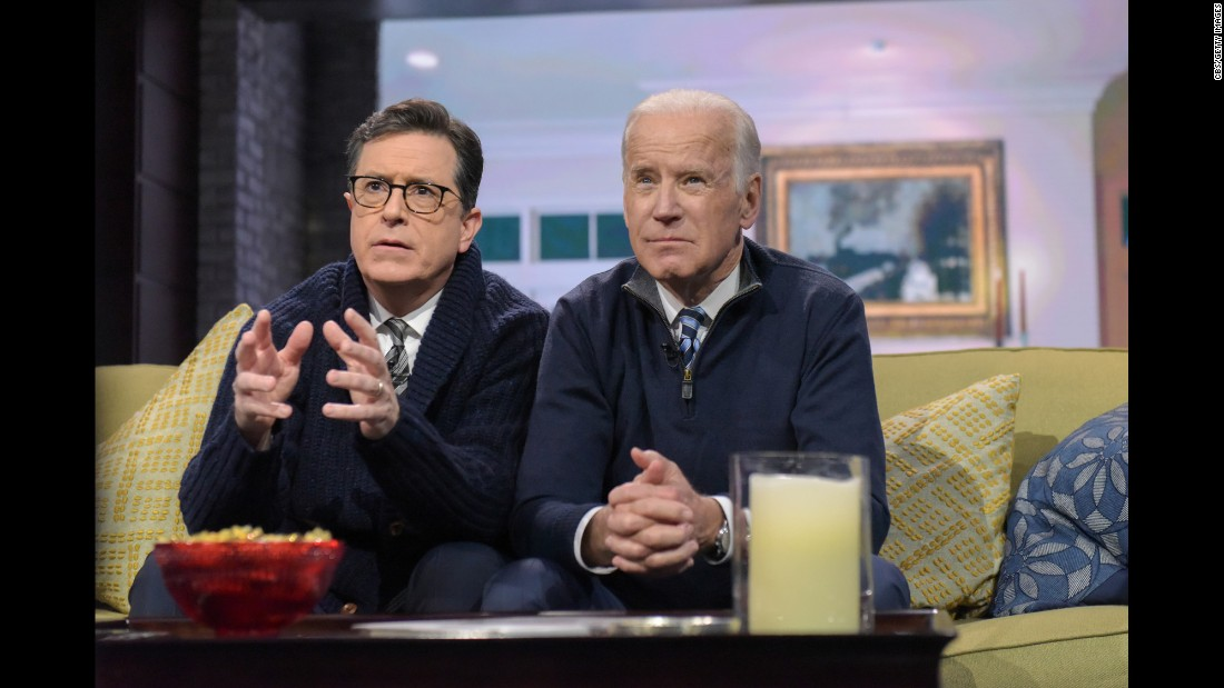 "Vice President Joe Biden, right, sits with host Stephen Colbert during a ""Family Meeting"" sketch on ""The Late Show"" in New York on Tuesday, December 6. Biden continued to tease a <a href=""http://www.cnn.com/2016/12/07/politics/joe-biden-colbert-interview-2020-buzz/"" target=""_blank"">possible presidential bid in 2020</a>, telling Colbert he's learned to ""never say never."""