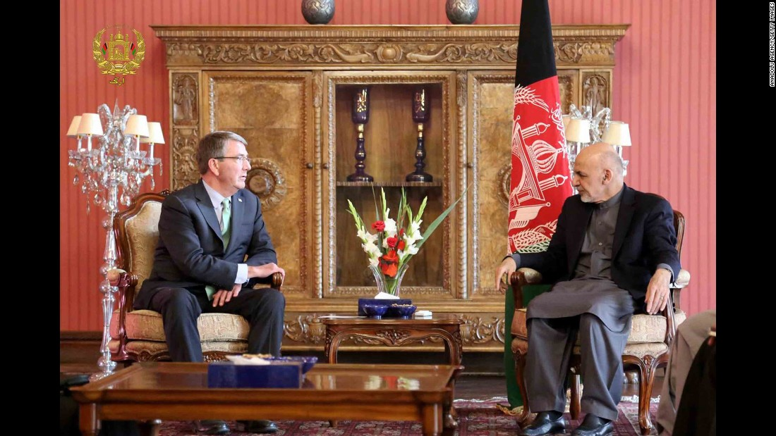 "US Secretary of Defense Ash Carter, left, meets with Afghan President Ashraf Ghani in Kabul, Afghanistan, on Friday, December 9. <a href=""http://www.cnn.com/2016/12/09/politics/ash-carter-afghanistan-visit/"" target=""_blank"">Carter's trip</a> comes amid major questions regarding the future of America's 15-year-long mission in Afghanistan."