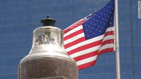 The original USS Houston CA-30 ship's bell was recovered by divers in the 1970s. It now sits atop the USS Houston CA-30 monument in downtown Houston, Texas.