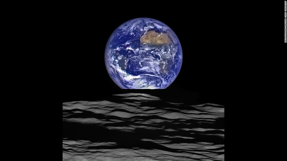 Earth from NASA's Lunar Reconnaissance Orbiter in orbit around the moon. The only planet in our solar system with an abundance of water, over 70%, thus named the 'blue planet'.