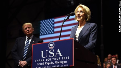 Betsy DeVos, picked by US President-elect Donald Trump for education secretary, speaks during the USA Thank You Tour December 9, 2016 in Grand Rapids, Michigan. / AFP / DON EMMERT        (Photo credit should read DON EMMERT/AFP/Getty Images)