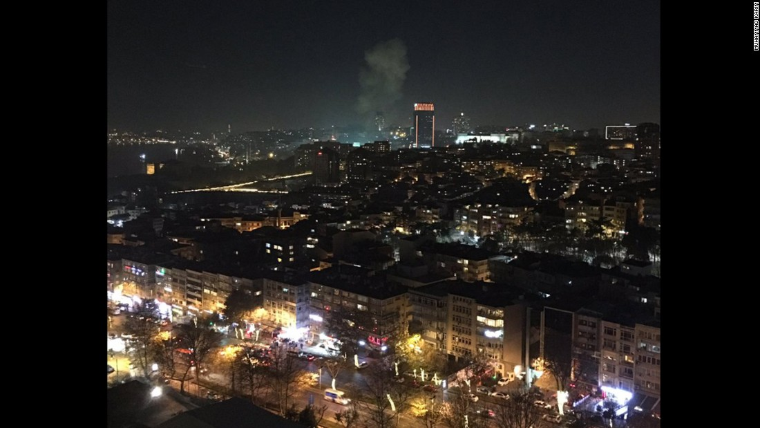 "Muhammad Karim took this image showing the smoke from the explosions and a video showing emergency vehicles responding to the scene in Istanbul. ""Massive Boom in Istanbul. Two of them. In or near Besiktas Stadium,"" he posted on Twitter."
