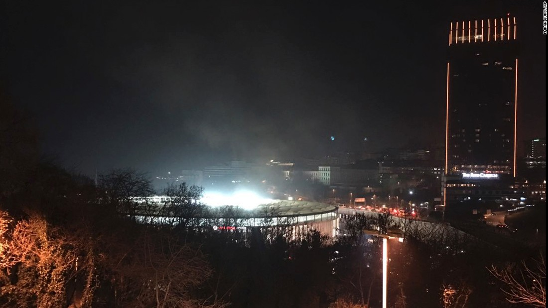 A view of Besiktas football club stadium after the explosions.