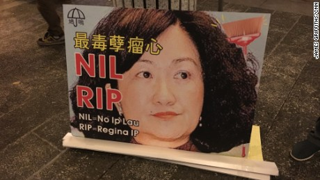 A poster opposes lawmaker Regina Ip, a front-runner to be Hong Kong's next chief executive.