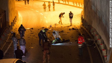 Police at the scene of the Istanbul bombings.