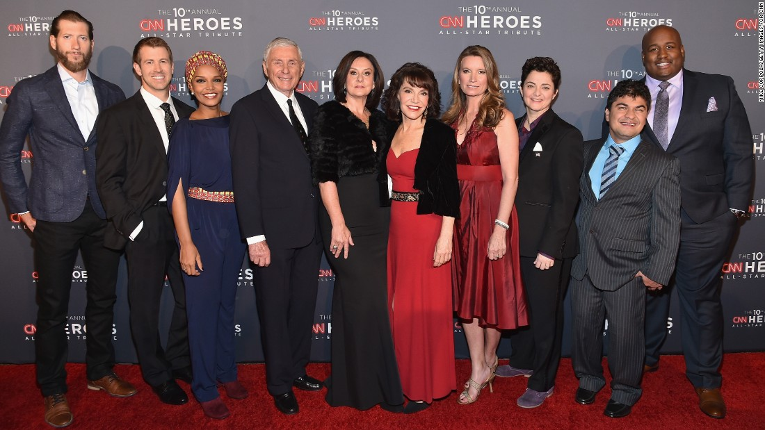 "These men and women, who have devoted their lives to helping others, have been selected as this year's Top 10 CNN Heroes. From left, Craig Dodson, Brad Ludden, Umra Omar,  Harry Swimmer, Georgie Smith, Sherri Franklin, Becca Stevens, Luma Mufleh, Jeison Aristizabal, and Sheldon Smith. Learn more about their work and how you can help at<a href=""http://www.cnn.com/specials/cnn-heroes/""> CNNHeroes.com</a>"