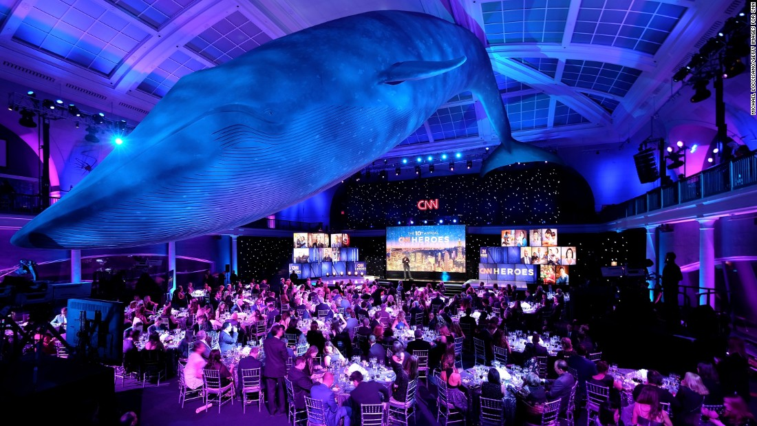 A view of the Irma and Paul Milstein Family Hall of Ocean Life during the CNN Heroes gala.
