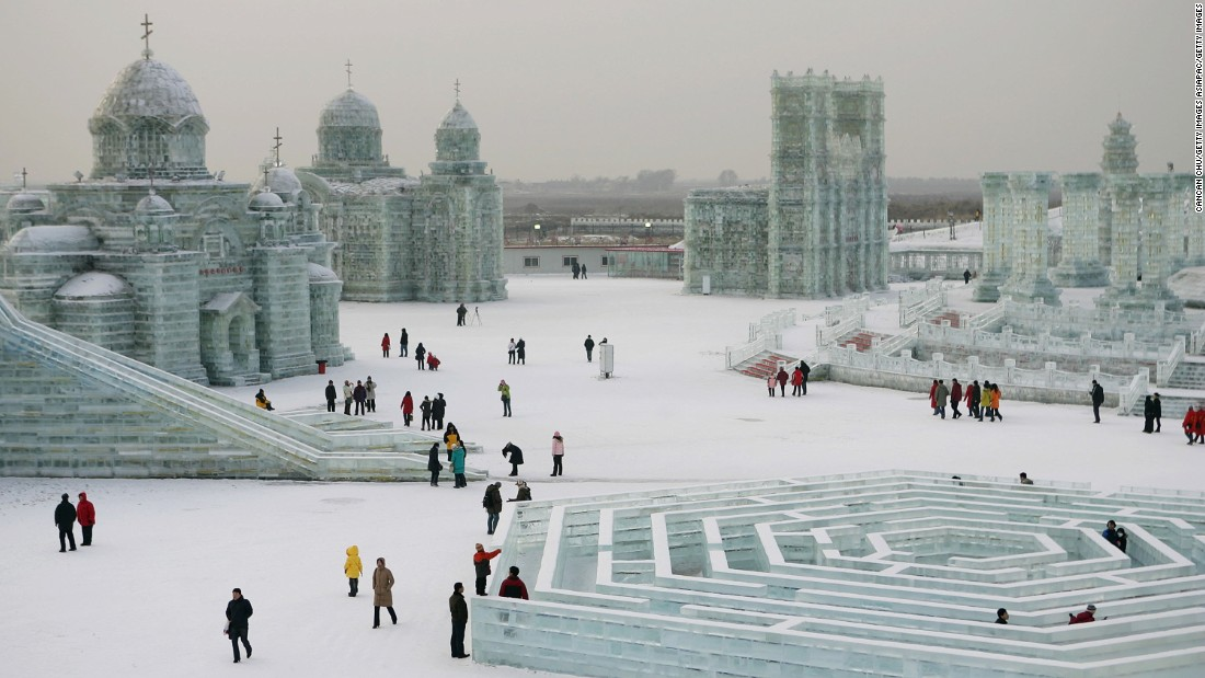 The Harbin International Ice and Snow Festival takes place in Harbin in Heilongjiang province, which is located in Northern China.