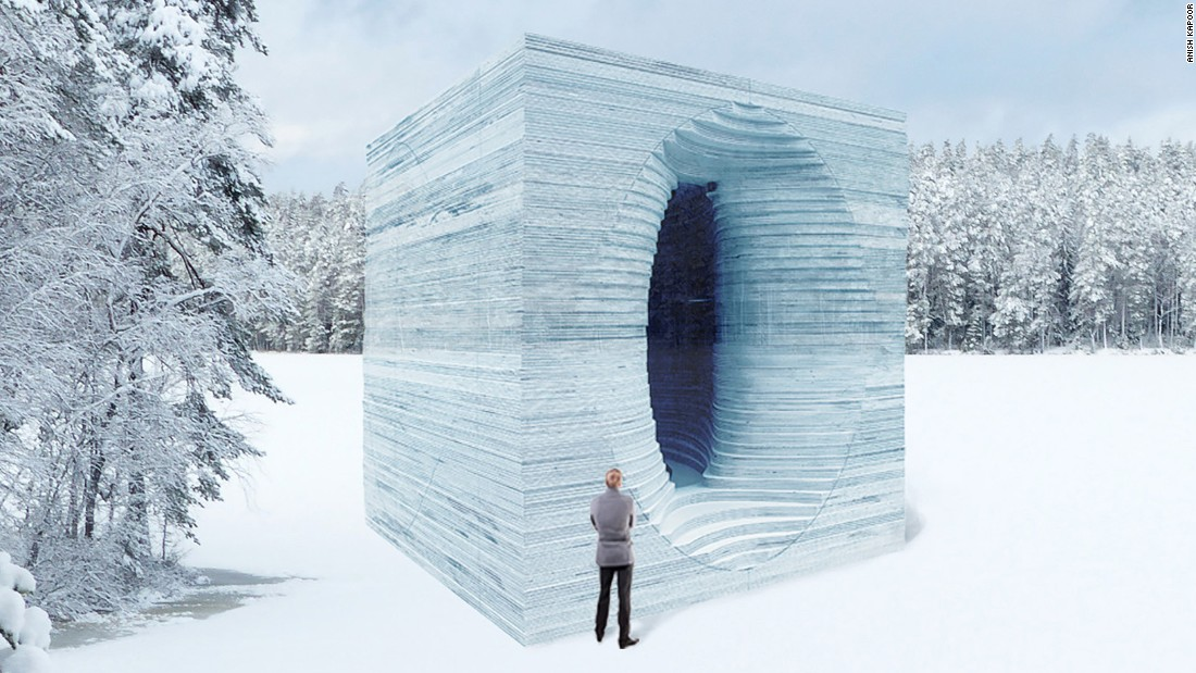 "Artist Anish Kapoor has designed this winter hut ""Stackhouse"" entirely out of blocks of ice."