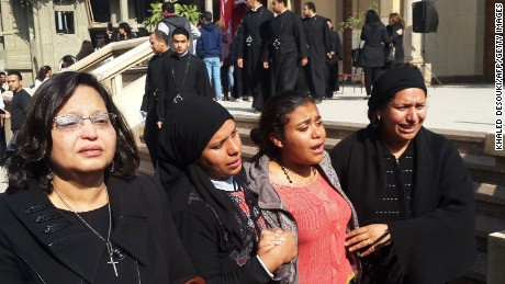 Egyptian mourners took to the streets in Cairo Monday.