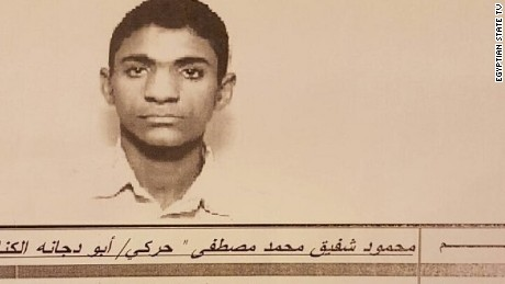 Egyptian State TV released this photo of the suspected suicide bomber, Mahmoud Shafiq Mohamed Mostafa.