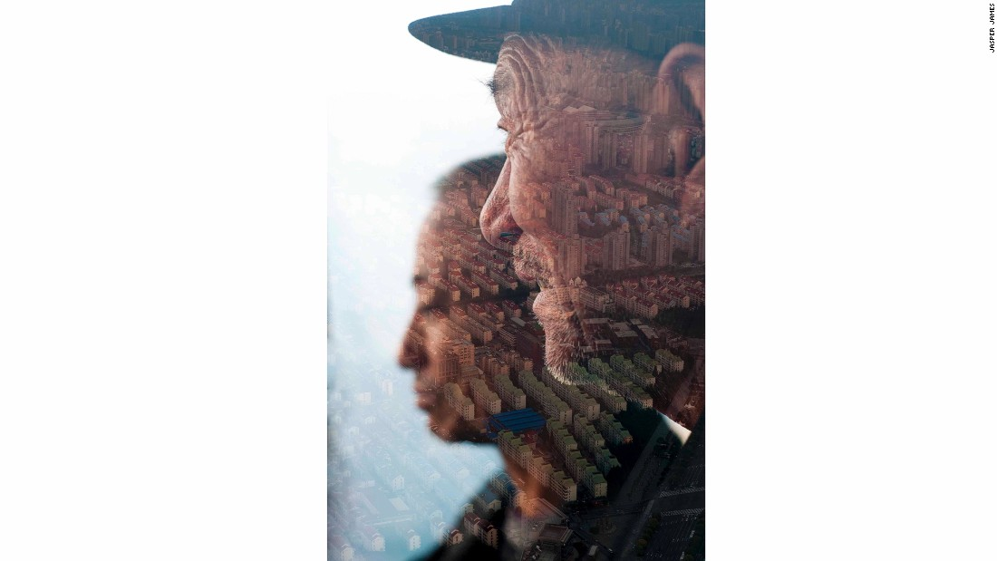 """I came across this old man when I was location scouting,"" recalls James. ""I noticed him looking out at the Pudong cityscape outside and quickly made a double exposure of him and the view, before he had time to notice and change his gaze. I like the way it combines new and old China in one image."""