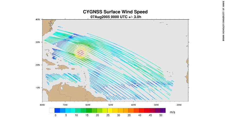 Sample wind speed data similar to what is expected from CYGNSS satellites. Courtesy Brian McNoldy/Univ. of Miami