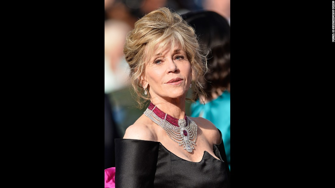 Actress Jane Fonda wore the choker-style necklace during the 2015 Cannes Film Festival.<br />