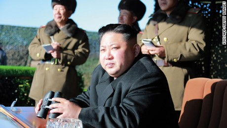 North Korean leader Kim Jong Un (C) during a combat drill in an undated photo released by state media.