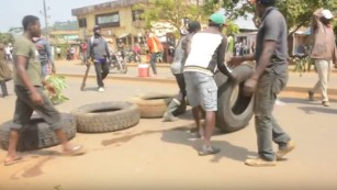Protesters build makeshift barricades in the city of Kumba, in Cameroon's English-speaking southwest region, on December 9, 2016.
