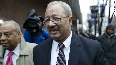 Former Rep. Chaka Fattah, D-Pa., walks from the federal courthouse after his sentencing hearing in Philadelphia, Monday, Dec. 12, 2016.  He was found guilty on charges of racketeering, fraud and money laundering.