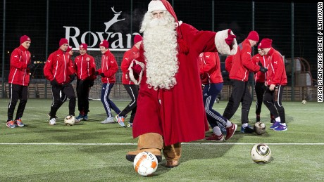 Santa Claus and FC Santa Claus training in Rovaniemi.