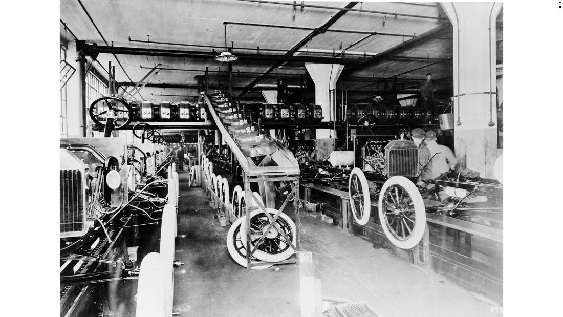 Ford was the first company to mass-manufacture the automobile, taking existing engineering principles but introducing a production line.