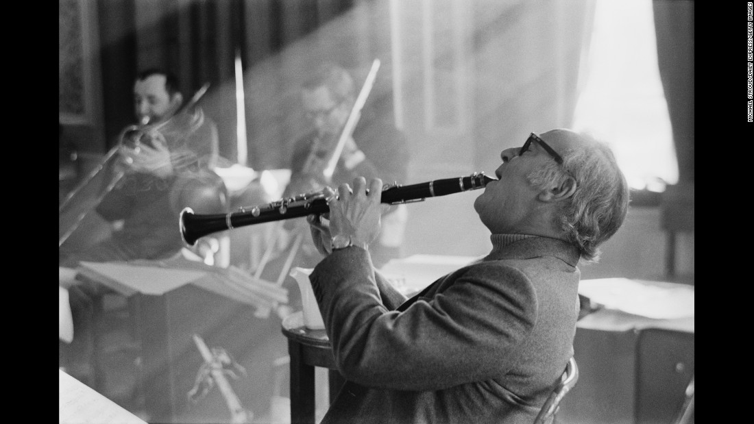 "Benny Goodman, shown here in 1970, was born in Chicago in 1909 and grew up to become the so-called ""King of Swing"" -- one of the greatest jazz clarinetists in American history. He ruled the 1930s, forming his own band that toured the nation and hosting a show on the top medium of the day: radio. Goodman died in 1986 at age 77."