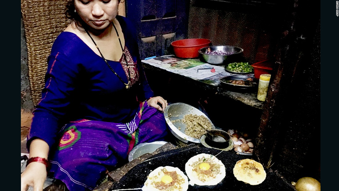 The resident chef at Honacha, a small cafe in Patan, makes bara, a lentil and meat patty.