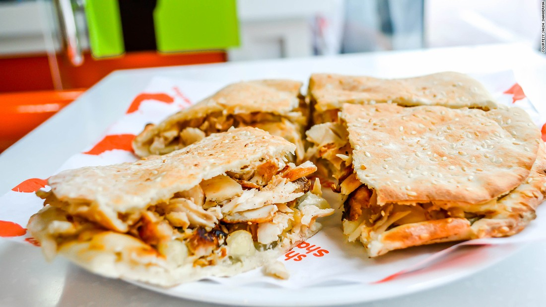 Its sandwiches -- chicken or beef -- using its in-house baked kaakeh topped with sesame seeds, are the most popular item on the menu.