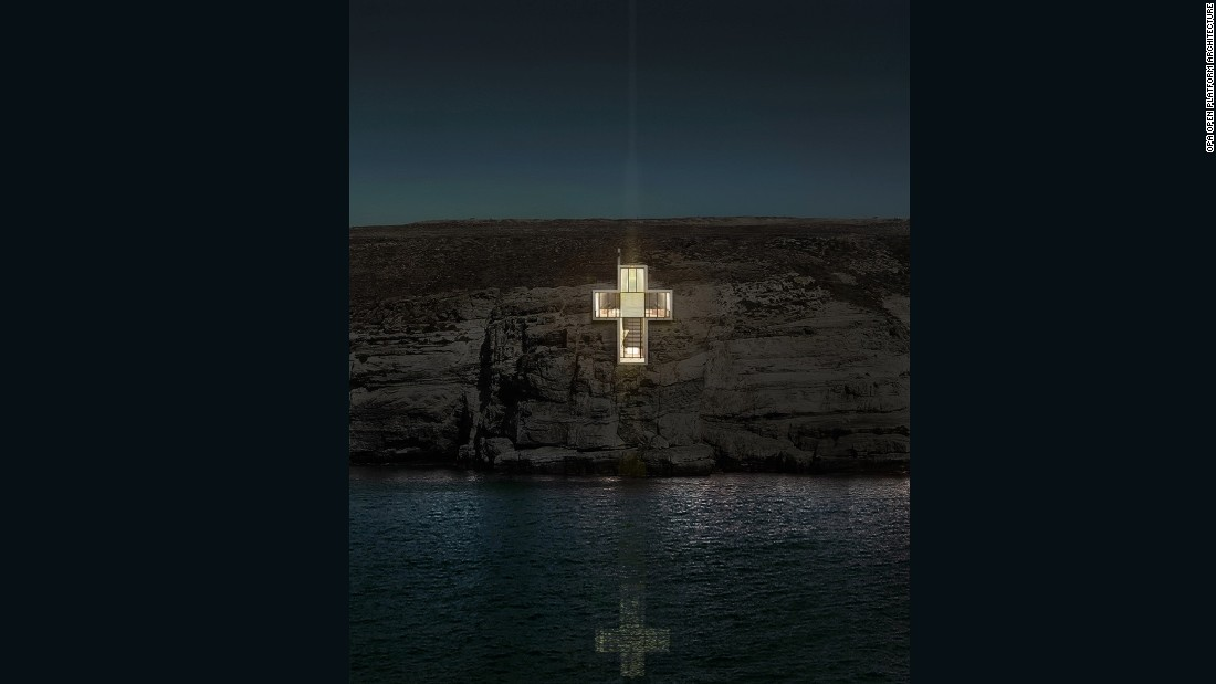 "At night, the cross structure illuminates from inside the earth and functions like a light house. ""This is how true belief should be. It should come from the inside, not from the outside,"" says the architect."