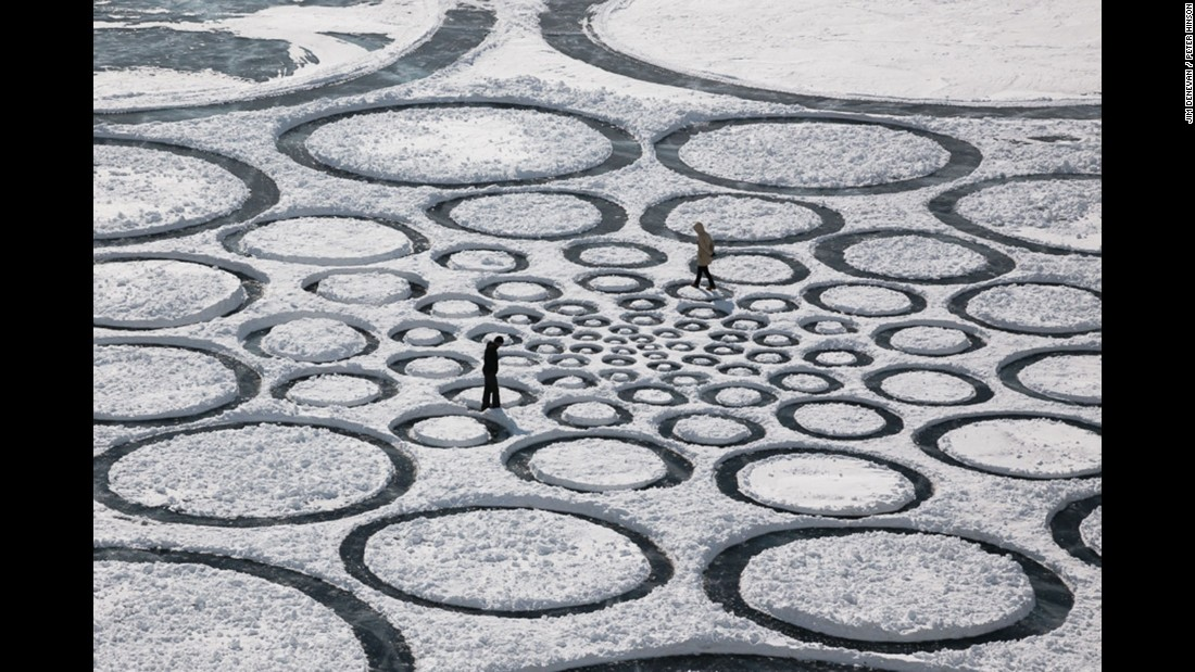Here, Denevan uses snow on top of a frozen lake in Siberia to create circles.