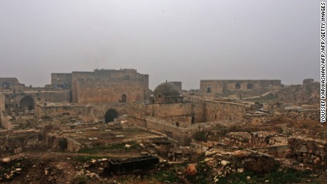 A general view shows Aleppo's citadel on December 13, 2016, after government forces captured the area. After weeks of heavy fighting, regime forces were poised to take full control of Aleppo, dealing the biggest blow to Syria's rebellion in more than five years of civil war.   / AFP / Youssef KARWASHAN        (Photo credit should read YOUSSEF KARWASHAN/AFP/Getty Images)