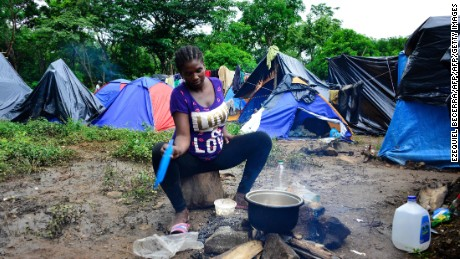 A migrant camp in Penas Blancas, Costa Rica, close to the border with Nicaragua on July 19, 2016.  Hundreds of tents shelter Haitian, Congolese, Senegalese and Ghanaian migrants waiting to continue their journey to the United States.