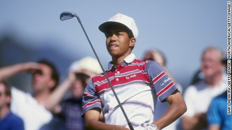 Tiger Woods hits a shot at the 1992 Los Angeles Open at the Riviera Country Club.