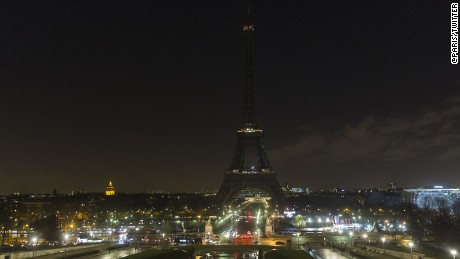 The Eiffel Tower in Paris turned off its lights Wednesday.