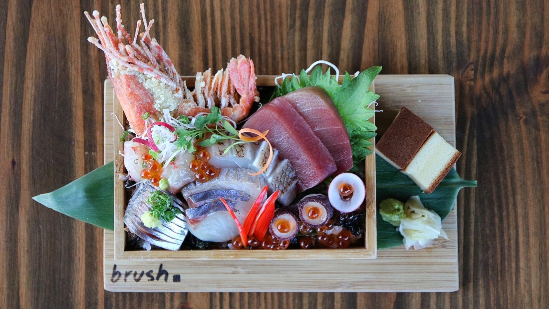 Brush Sushi Izakaya's omacase menu gives control of the menu to chef Liang, who prepares a menu from his favorite fish of the day.