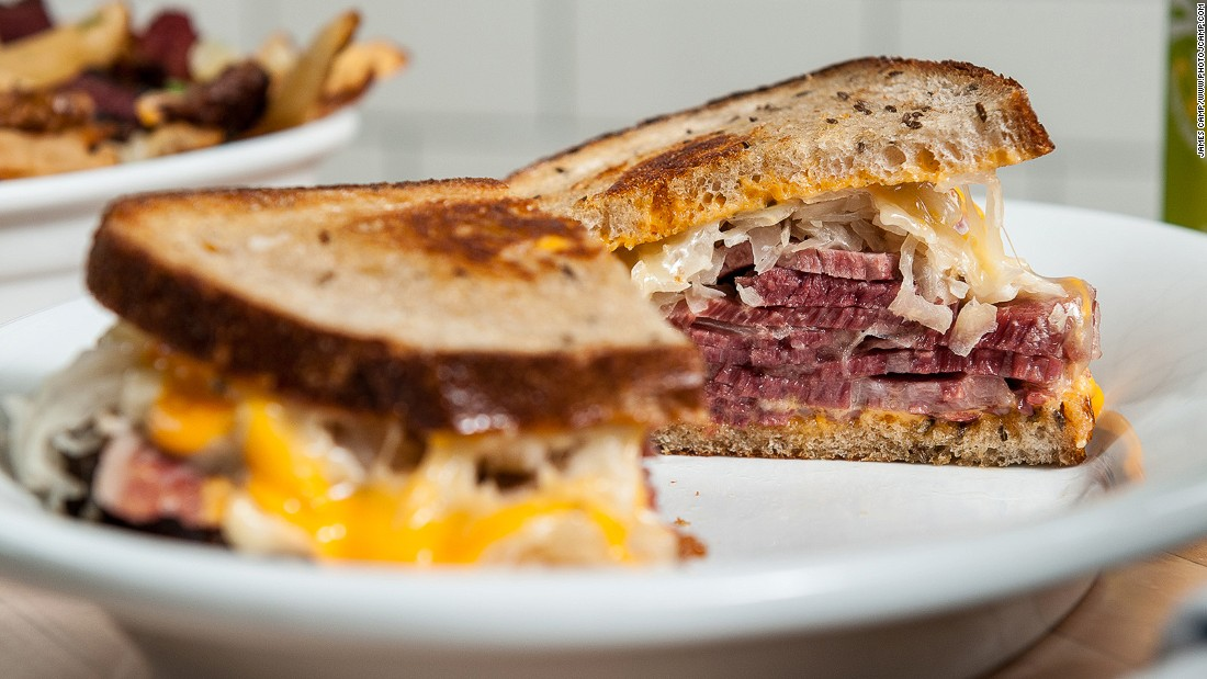 The General Muir's Reuben sandwich, made of corned beef, sauerkraut, Russian dressing, gruyere and buttered rye, is a thing of beauty.