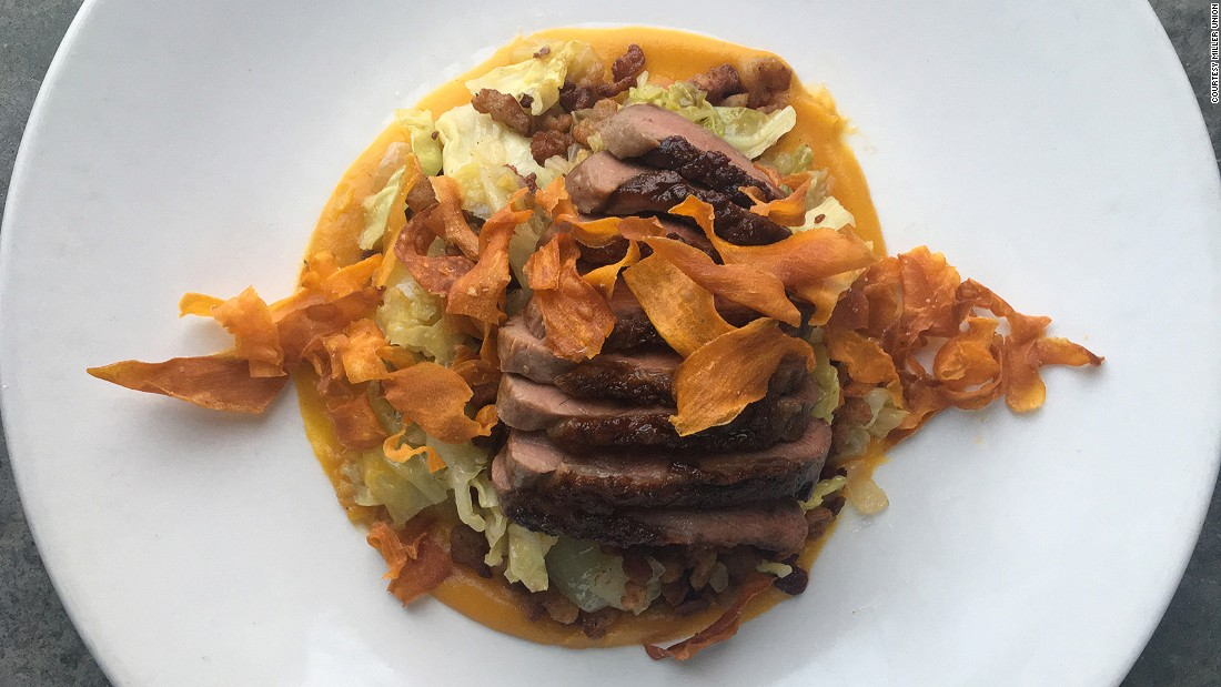 Satterfield's current menu includes this duck breast with sweet potato, savoy cabbage, farro spaetzle and maple gastrique. It's cooked with ginger and a little cardamom.