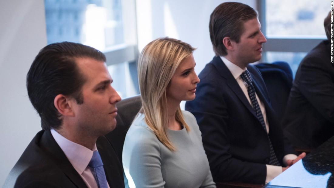 Three of Trump's children -- from left, Donald Jr., Ivanka and Eric -- attend the meeting with tech leaders on December 14.