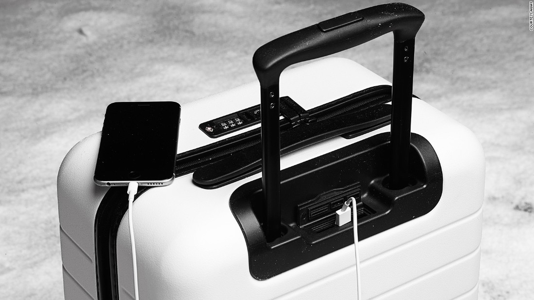 Another, more minimal, smart suitcase range is made by Away. These cases have an onboard battery for charging devices via a US port.