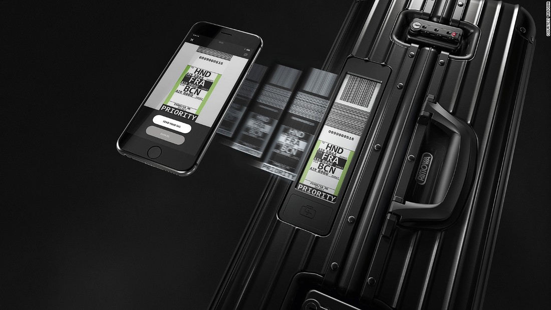 Rimowa's e-tag contains the same info as a normal printed suitcase tag. Details are uploaded from a user's smartphone via the Bluetooth link.