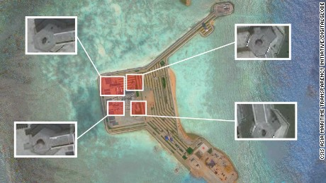 This composite image shows Chinese weapon installation on Gaven reef.
