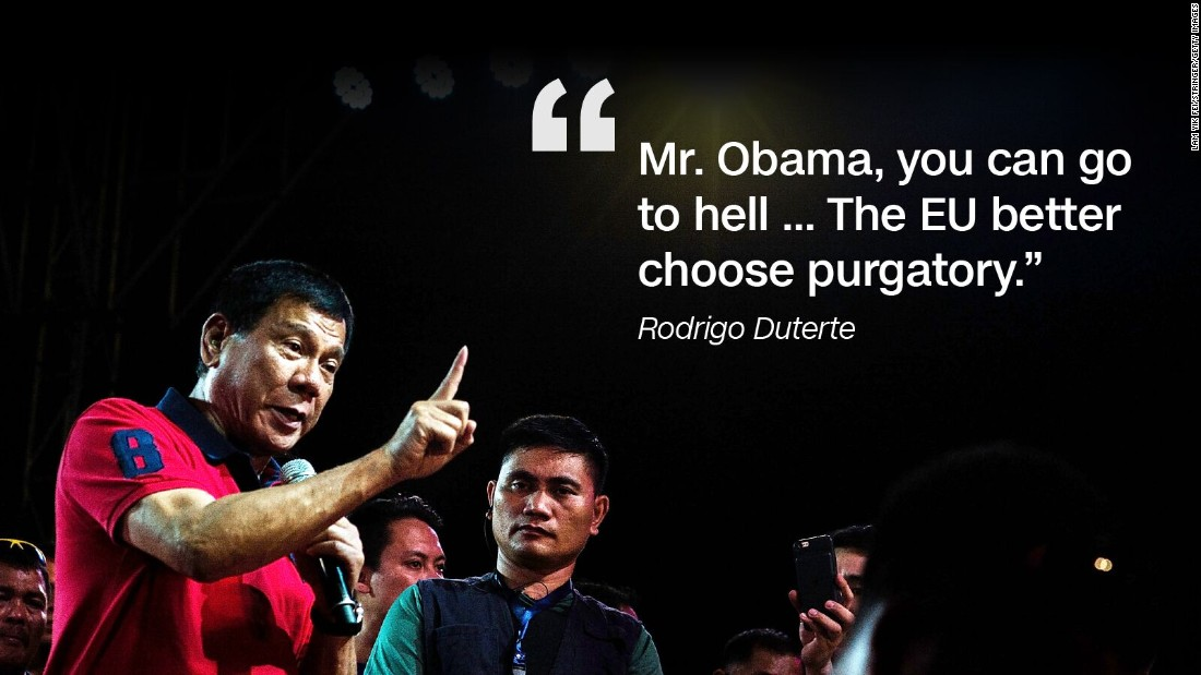 In October 2016 Duterte expressed growing hostility with the US president.