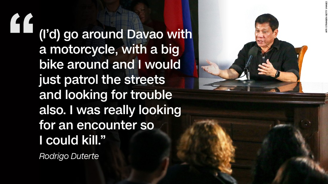Speaking at a business forum in Manila in December 2016, Duterte admitted killing suspected criminals during his time as mayor of Davao City.