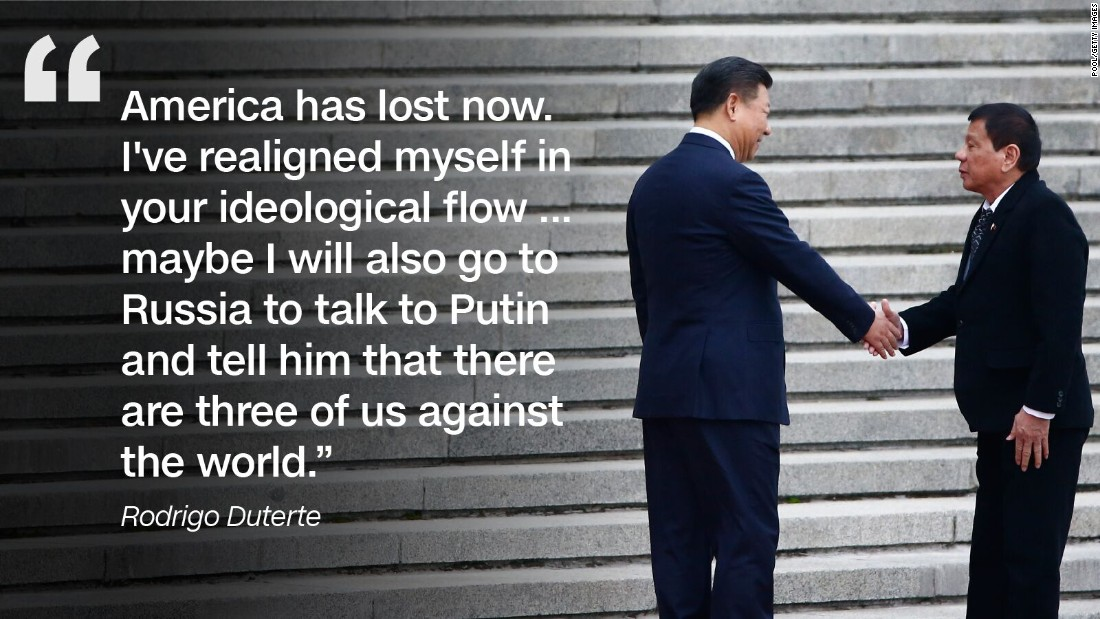 During a state visit to China in October 2016, Duterte announced his economic and military 'separation' from the US.