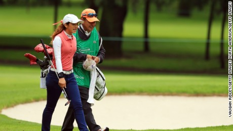 MEXICO CITY, MEXICO - NOVEMBER 10:  Isabella Fierro of Mexico walks up to the 3rd green during the first round of the Citibanamex Lorena Ochoa Invitational Presented By Aeromexico and Delta at Club de Golf Mexico on November 10, 2016 in Mexico City, Mexico.  (Photo by Vaughn Ridley/Getty Images)