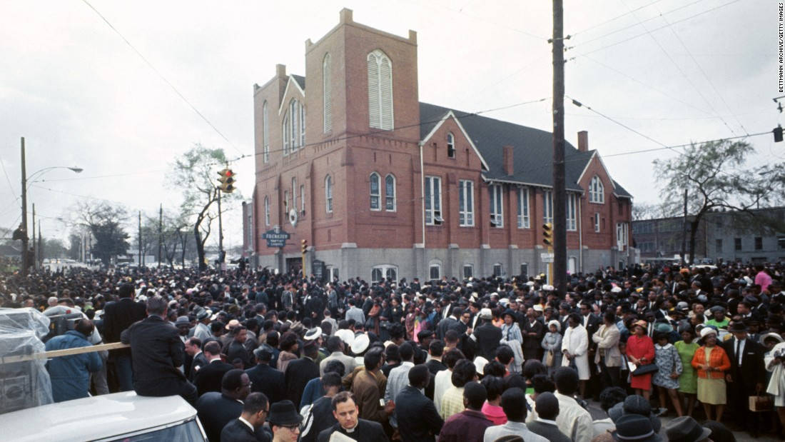 Thousands of mourners gathered at the original Ebenezer Baptist Church in 1968 for services for the slain Dr. Martin Luther King, Jr. The historic structure is now part of the Martin Luther King, Jr. National Historic Site.